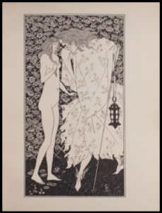 Illustration by Aubrey Beardsley. Two figures stand in profile, one in dress one in full nudity. Flowered background behind the two figures,
