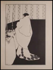 Illustration by Aubrey Beardsley. Female figure stands at a table in full dress.