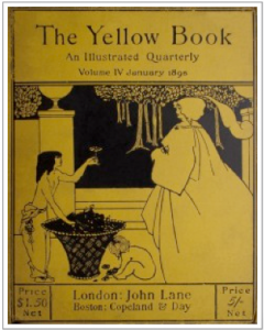 Yellow Book cover volume IV by Aubrey Beardsley. Two young males are pictured next to one female figure, in profile. The setting is outdoors.