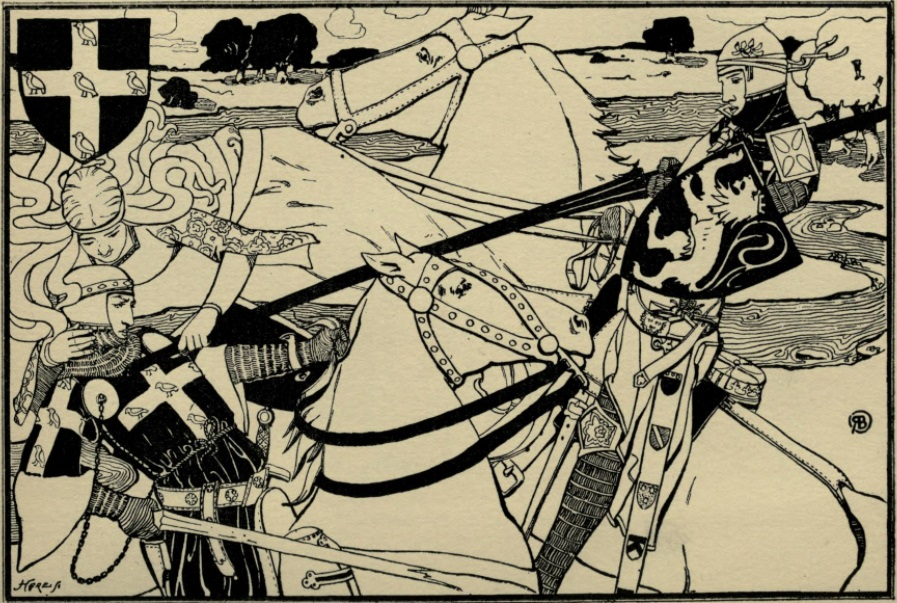 Illustration of two knights on horseback jousting; the one on the right has struck the one on the left. A woman encircles the fallen knight with her arms, seemingly floating beside him. Her hand is on the attacker's lance as if to stop the blow. Behind the trio is a countryside scene: trees and a creek. In the top left corner of the illustration is a black crest with a white cross decorated with five birds; this crest matches the design on the fallen knight's chest.
