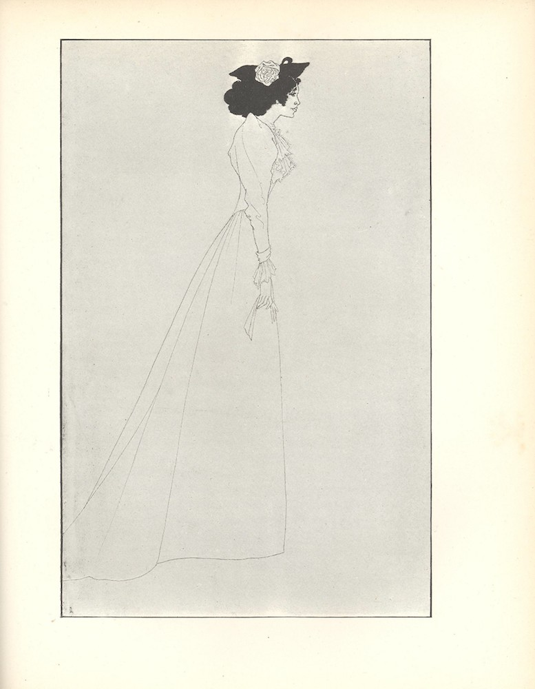 Light line drawing showing a tall slim woman standing in profile, holding a glove and wearing a small hat on her black hair