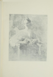 Portrait of a woman with her hair tied back, sitting in a chair cradling and looking down at a baby in her arms