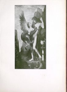 Portrait of two figures, looking at each other in a surreal setting. The man is holding a staff, looking down at the female figure and and the female figure (looking up) is a hybrid, what seems like part animal, part human and part bird.