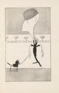Caricature portrait of a man with a large angular head disproportionate to a thin human body and elongated fingers. The man is wearing a tuxedo and walking a toy dog (poodle) on a leash. The background features Audrey Beardsley's name in block text with trees drawn on top of his name.