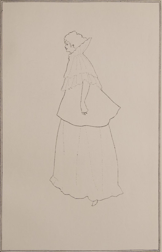 Portrait sketch of a woman in full body profile, wearing a long skirt, jacket, and lacey shawl