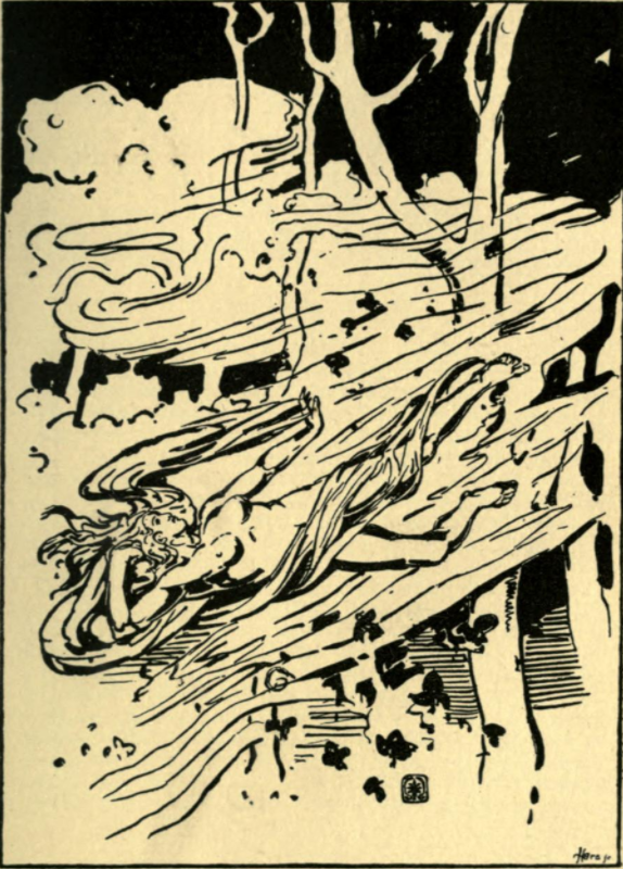 A human shape is visible in the gust of wind hurtling through trees