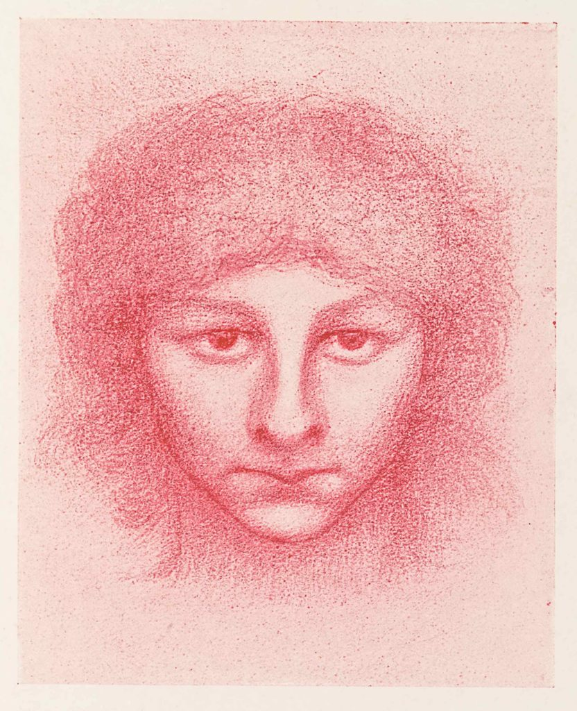 A red sketch of a head with lots of hair