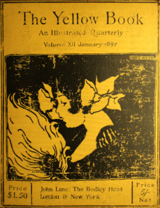 """The cover of the """"Yellow Book"""" Volume 12 where Ethel Reed's illustration of a woman in profile can be seen. The woman appears to be holding a fan but we cannot see her hand. Her dress blends in with the back background as does her hair. She has two flowers in her hair. It also appears as if she could be kissing another woman, though this is ambiguous."""