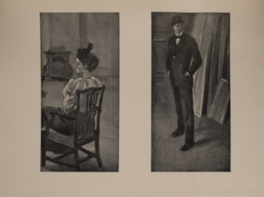 The image is of a mature woman seated in a chair her back to the viewer but with head in profile She wears a hat a white blouse and a dark skirt The scene is in an interior room there is a stove in the background The image is displayed horizontally